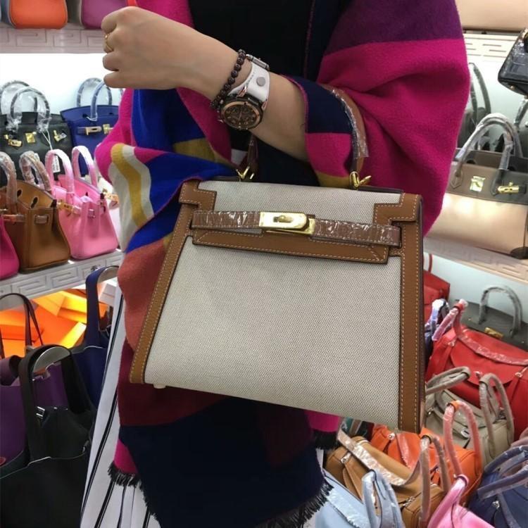 Elegant2019 Kylie toile avec la peau Bill Main connaissements épaule Messenger en cuir véritable femme paquet