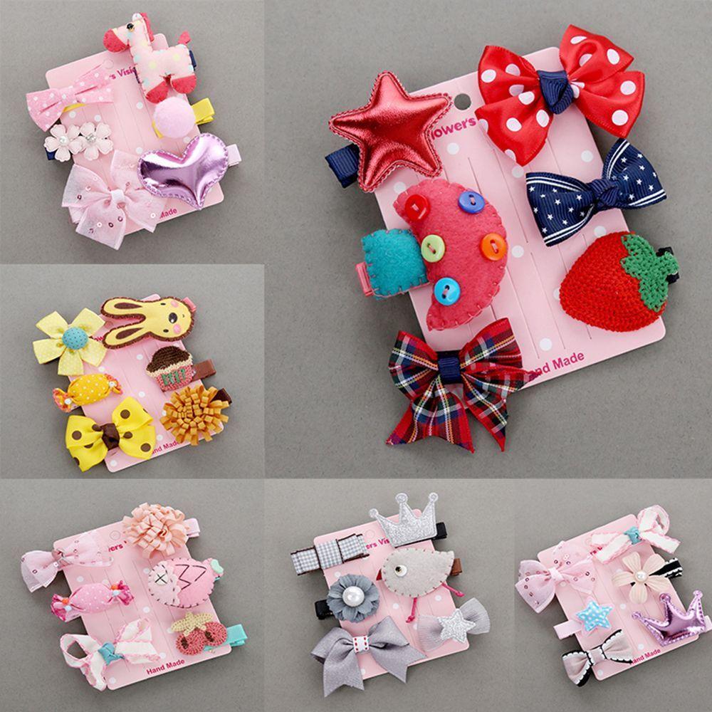 6Pcs/set Hairpin New Children Kids Hair Clip Bow Flower Mini Barrettes Star Girls Headwear WHolesale