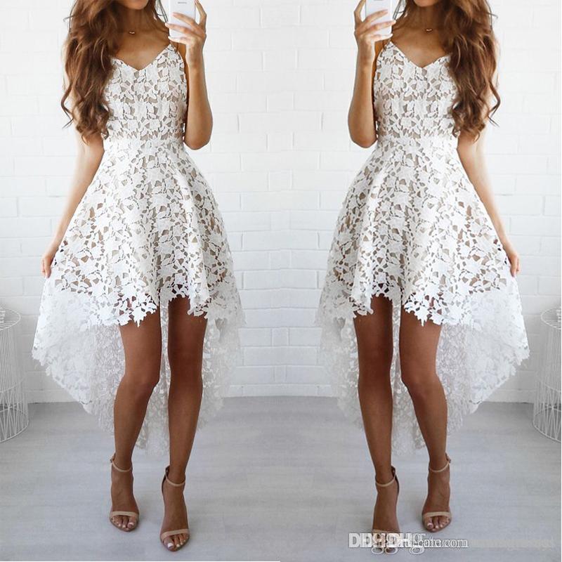 Белые высокие низкие домохозяйственные платья с ремнями кружева короткие платья выпускного вечера для домашних платьев партии на заказ