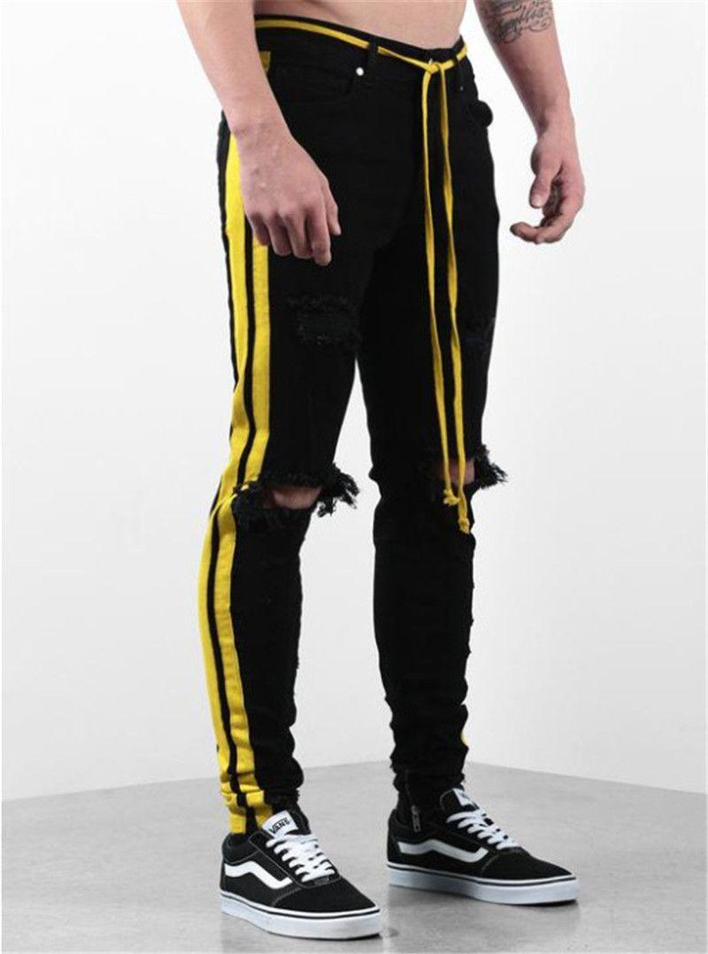 Tasarımcı Erkek Delikler Jeans Çizgili Baskılı Skinny Mens Kalem Pantolon Distrressed Erkek Giyim