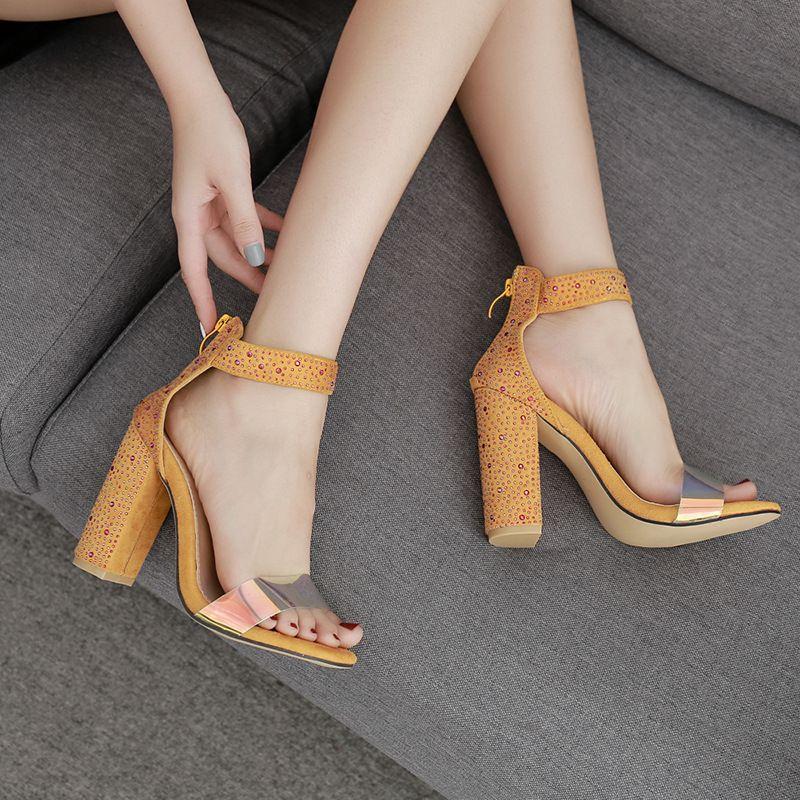 Pretty2019 высокий горный хрусталь женская обувь 40 код одним словом принести цвет бриллиант орфографии грубый цвет с сандалиями