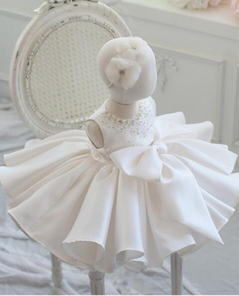 Compre Vestido De Bautizo Para Niña Bautismo De Bodas Arco Grande En Capas Vestido De Fiesta Recién Nacido De Tul Princesa Infantil Vestido De