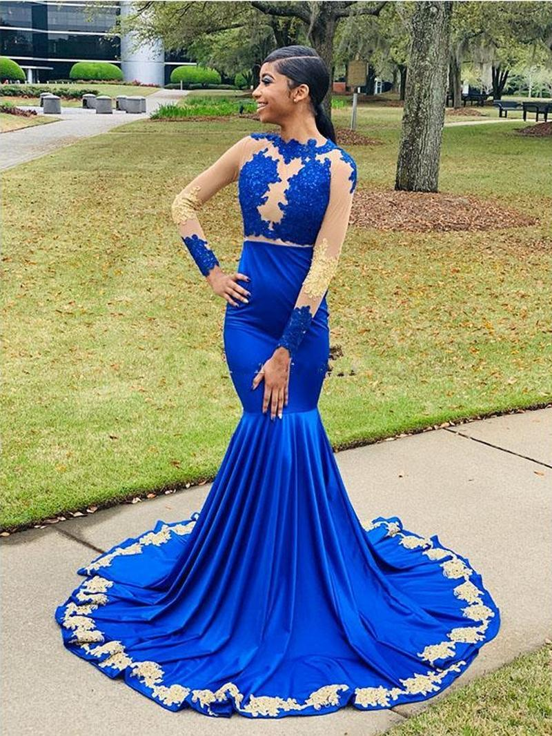 Plus Size Mermaid Prom Dresses Royal Blue Spandex Long Formal Evening Dresses with Gold Appliques Long Sleeve Prom Party Gowns