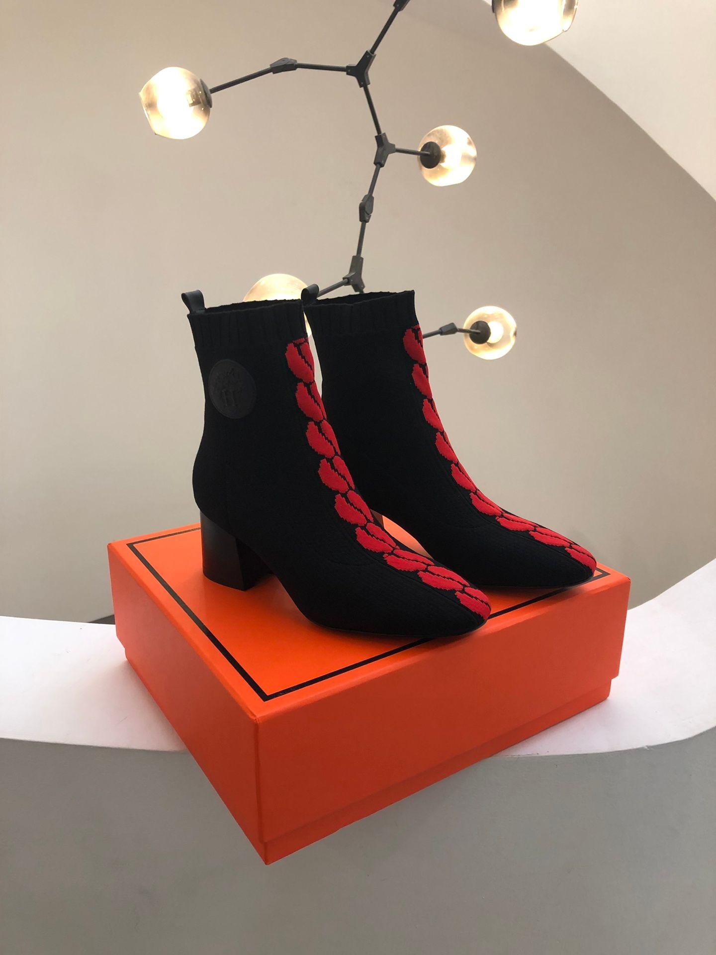 Automne-Hiver 2019 lance un nouveau produit de haute qualité en tricot et bottines chunky talons femmes bottes noir rouge