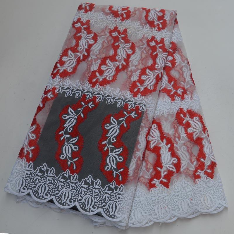 Белая / красный африканской ткань шнурка высокого качество французской тюль ткань шнурок 2019 Нигерийских Шнурки Гипюр вышивка Ткани для свадьбы
