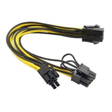 500pcs Molex 6 pin PCI Express to dua 2 x PCIe 8 (6+2) pin Motherboard Video Card PCI-e VGA Splitter Hub Power Cable