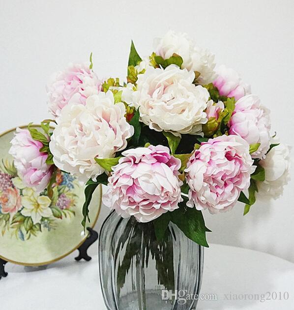 """シルクスプリング牡丹40cm / 15.75 """"造花の中国の草本牡丹のための家のクリスマスショーケースの装飾の結婚式の中心点"""