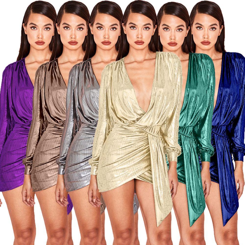 Высокое качество роскошные женщины металлические окунуться вечеринку сексуальный глубокий V шеи платья дизайнер Bodycon нерегулярные короткие мини клуб платье женская одежда
