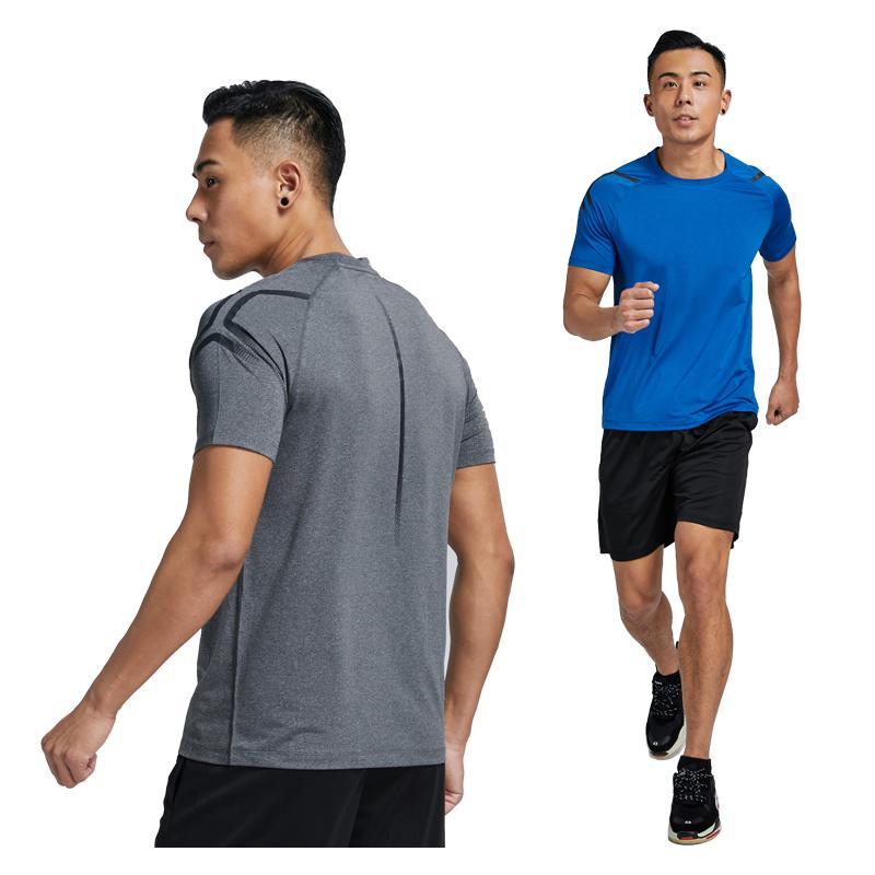 Hommes en cours T-shirts séchage rapide élastique à manches courtes T-shirt Gym Fitness culturisme shirt Chemises Entraînement sportif