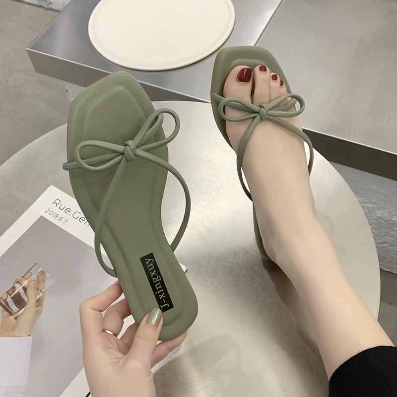 Female Shoes Slippers Flat Slides Summer Woman Fashion Candy Colors Low Butterfly-knot 2020 Beach Luxury Basic Rubber
