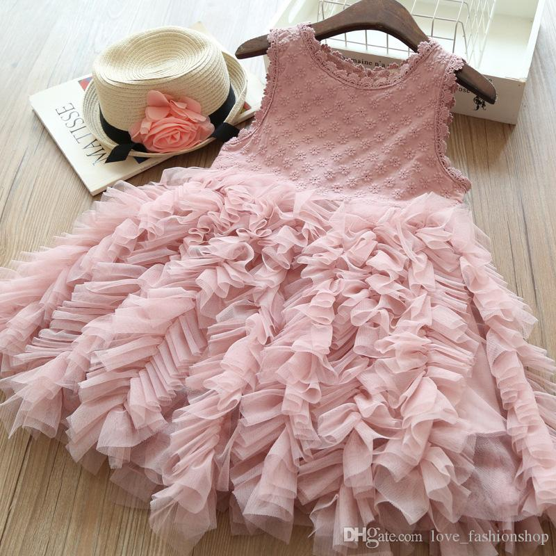 Retail white Baby Girls Sleeveless layer upon layer Pleated Princess Dress Kids Fashion Luxurious Ruffle Party Dresses Designer Clothes