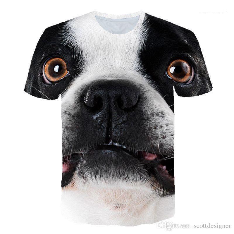 Print Designer-T-Shirts mit Rundhalsausschnitt kurze Hülsen-Paar-Kleidung Hunde nette Art Freizeitkleidung Mens-Sommer-3D