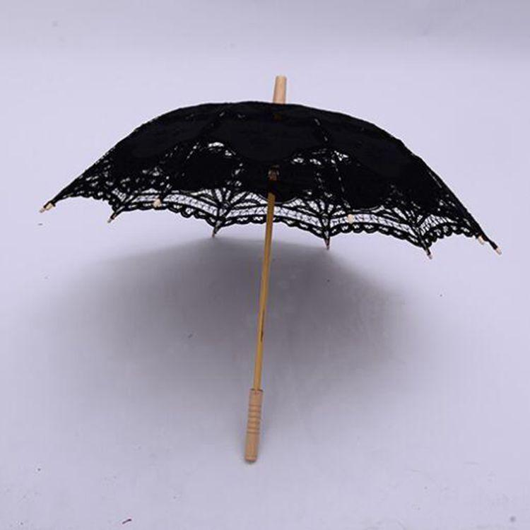 Cordón de boda paraguas de encaje de encaje paraguas mango de madera mango de dama de honor westers vintage eventos decoración parasol sol paraguas dhd96