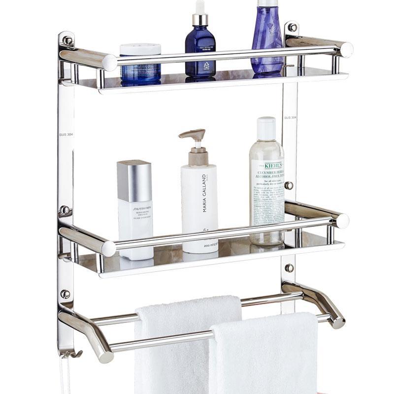 광택 은색 욕실 수건 바 304 스테인레스 스틸 수건 걸이 욕실 2/3 층 선반 2 층 랙