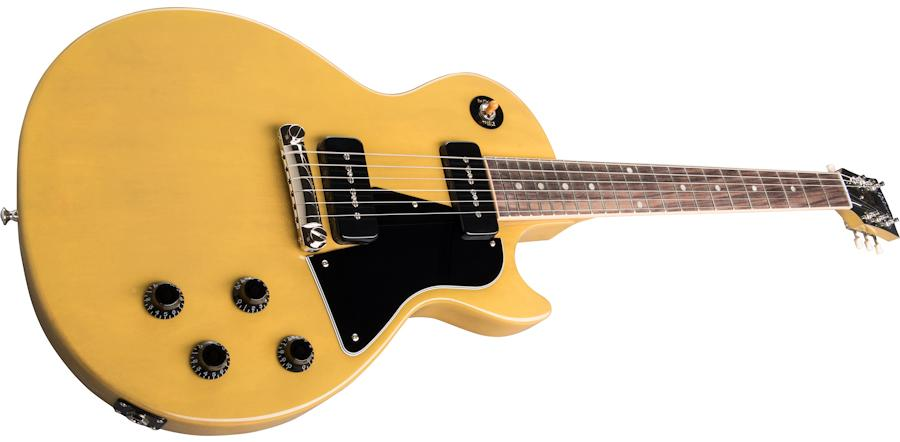 Custom Single Cutaway 1959 Special TV Yellow Electric Guitar, Black Pickguard, Black P-90 Pickups, Wrap Arround Bridge, Orange Switch Top