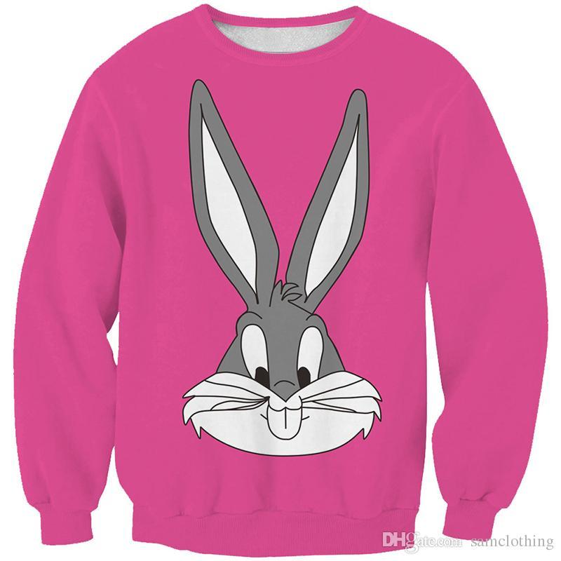 Women Sweatshirt Cartoon Rabbit Bunny Deep Pink 3D Printed Girl Free Size Stretchy Hoodies Lady Long Sleeves Tops Sweatshirts (RSws0278)