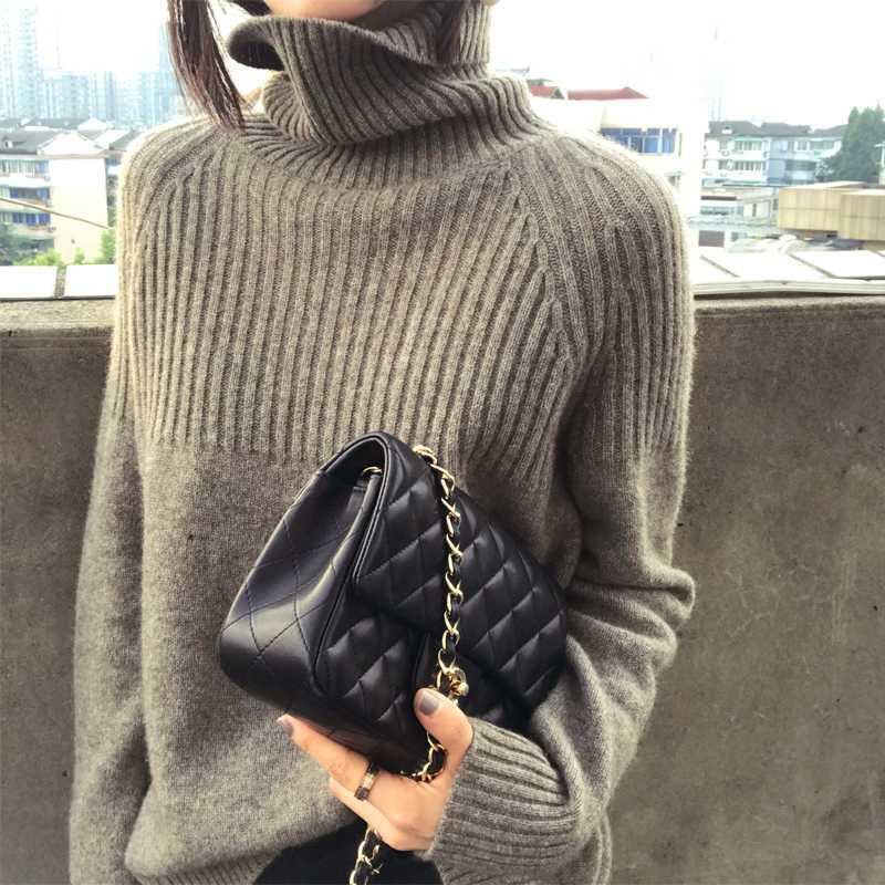 Femmes Pull Nouveau printemps Turtleneck de haute qualité à manches longues Soft Cashmere Sweater Femme Mode Femme Chaud Solide Pullover