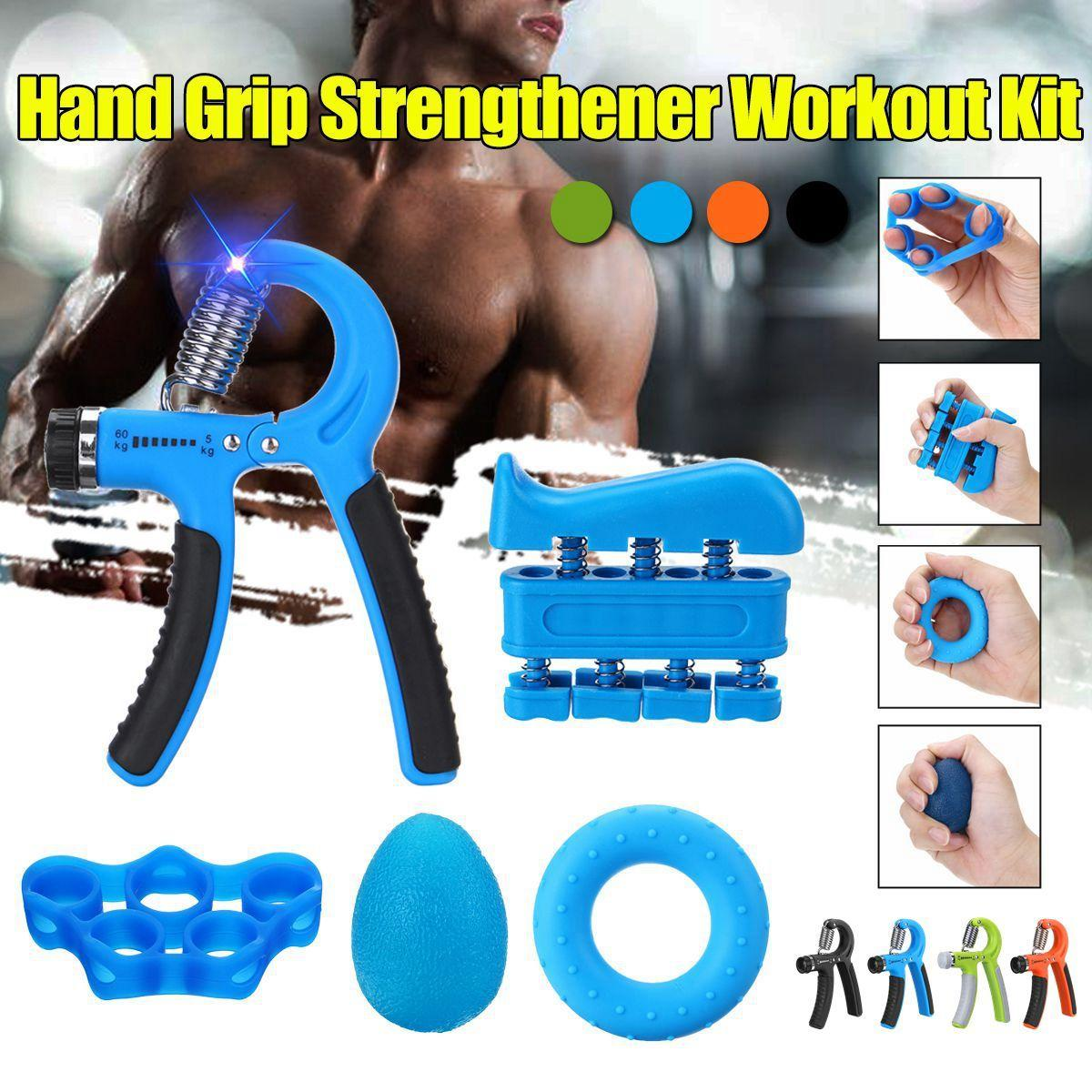 5pcs/set Adjustable Hand Grip Power Exerciser Strengthener Strength Trainer Hand Exerciser Gripper Exercise Fitness Workout Kit Y200506