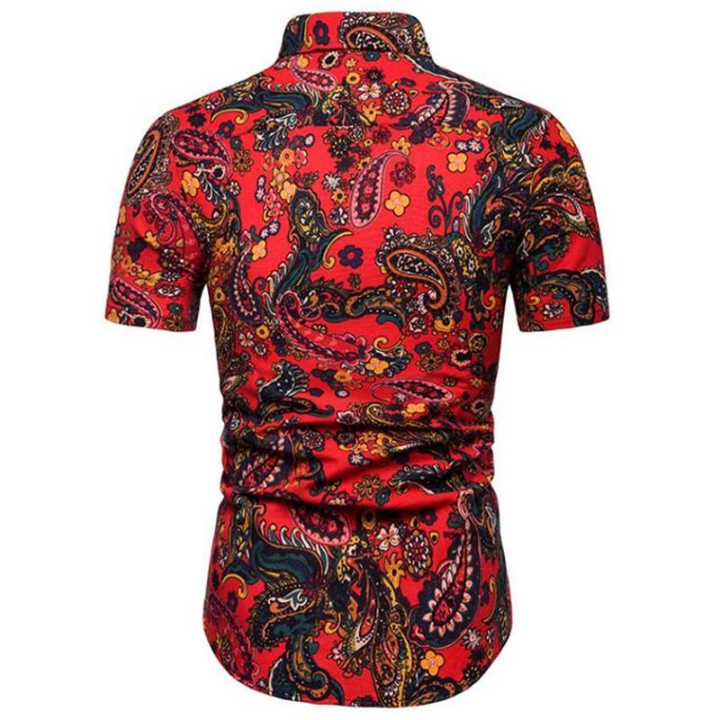 Camisas Casual de tamanhos grandes 5XL Homens de manga curta 2019 Verão da camisa havaiana Skinny Fit com vários padrões de roupas de homem 21 Cor