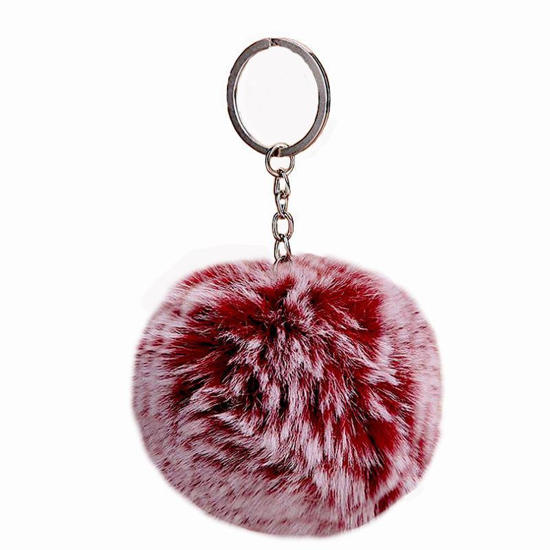 Moelleux Faux lapin boule De Fourrure Pom Pom porte-clés Mignon charmes Pompon Porte-clés Cadeaux pour les Femmes De Voiture Sac Accessoires Porte-clés