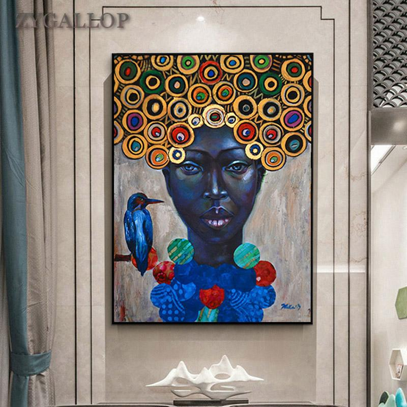 Black Woman With Bird Canvas Painting Africa Wall Art Oil Painting Print Poster Wall Pictures For Living Room Home Decor tableau