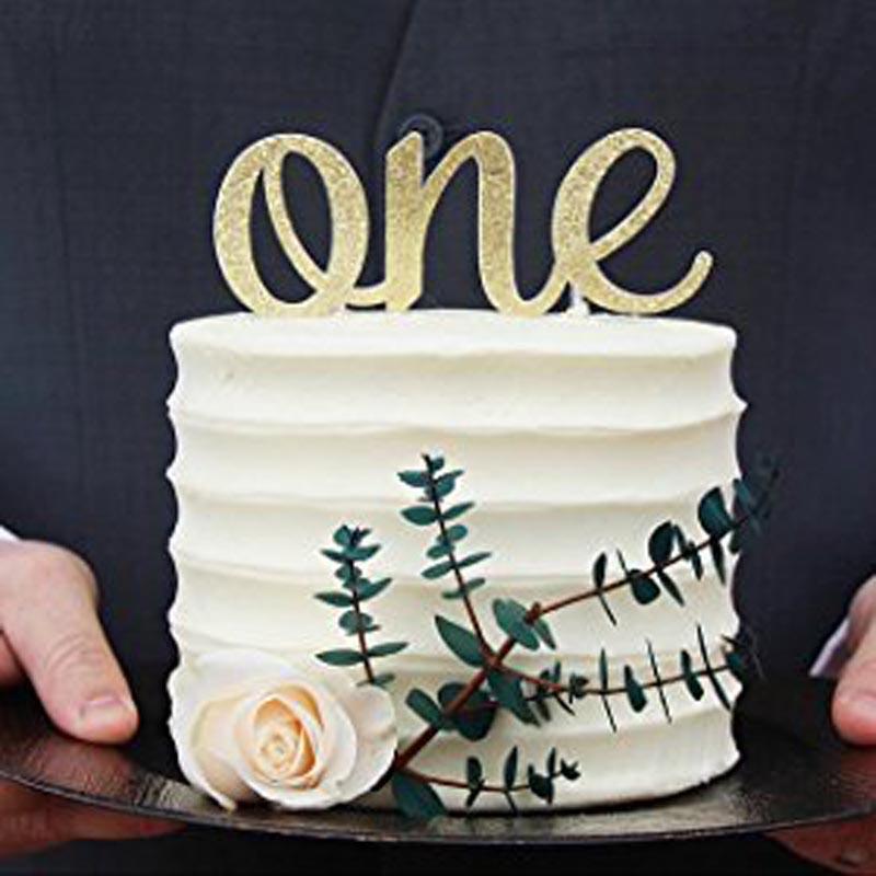 Or Glitter Cake Topper pour bébé kid filles garçons un 1 er premier anniversaire fête baby shower Décoration anniversaire accessoire faveur
