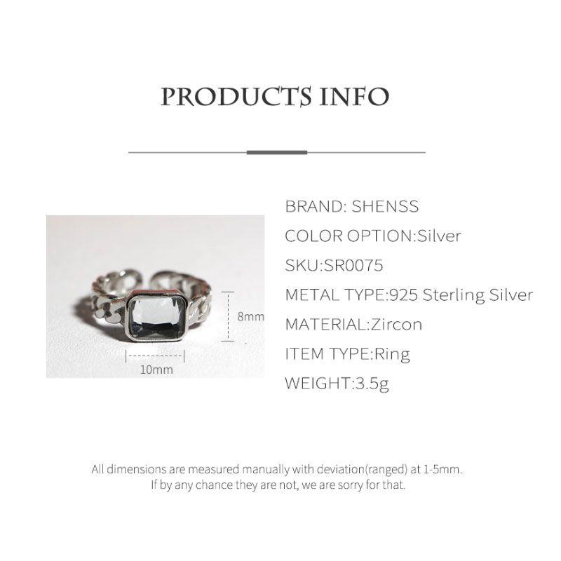 Elegant Quality 925 Rings Adjustable Vintage Fashion Zircon Twist Geometric Ring 925 Sterling Silver Ring for Women