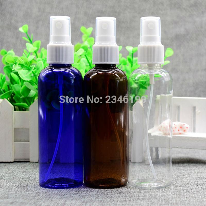 Bomba de pulverización vaciar la botella de 100 ml Spray de plástico azul botella vacía plástica y estética del envase de plástico marrón aerosol 50pcs botella de 100 ml