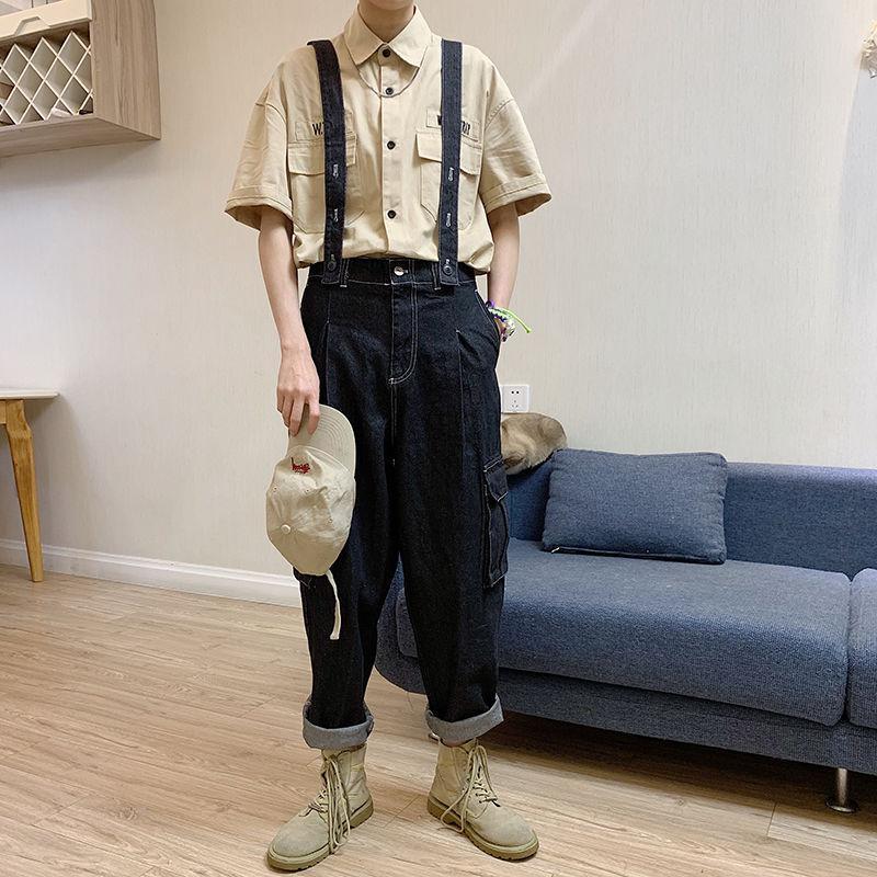Idopy Mode Männer Retro-lose Fracht Jeans Denim-Latzhose Hallo Street Style Street Jumpsuits für Mann Strumpfhose