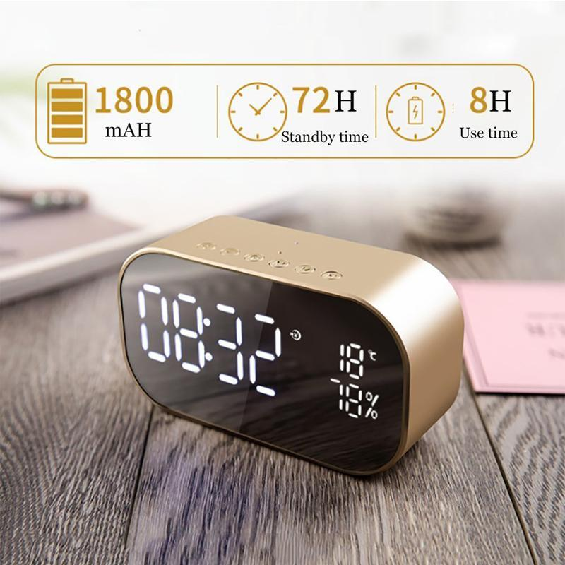 LED Alarm Clock with FM Radio Wireless Bluetooth Speaker Support Aux TF USB Music Player Wireless for Office Bedroom Digital Clock