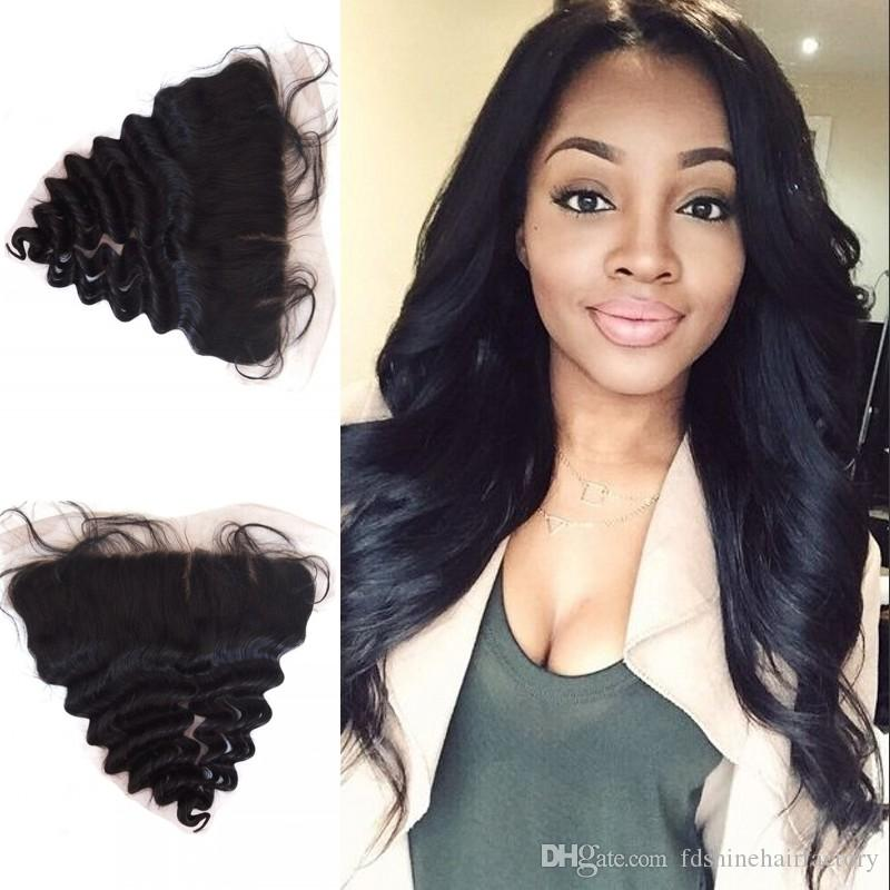 Silk Base Lace Frontal Closure Loose Wave Malaysian Human Hair 13X4'' Silk Top Lace Frontals FDSHINE