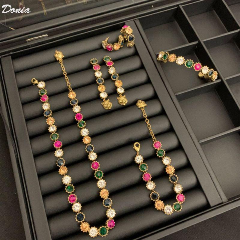 Donia Schmuck Europäische und amerikanische Mode Mischfarbe Halskette Armband Ohrring Fünf Sätze Hochzeit Schmuck Frauen Bankett Set decorativ