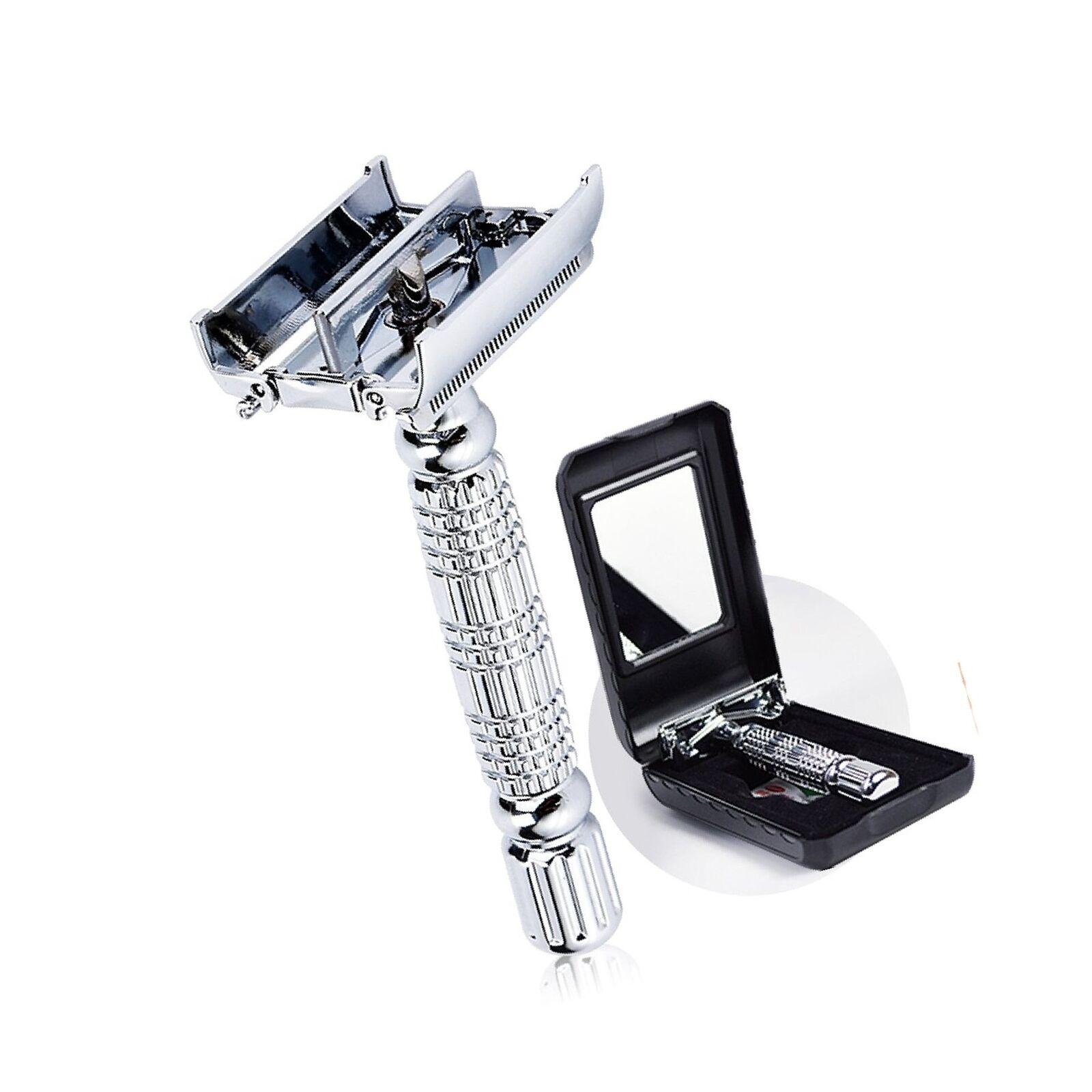 Barber Safety Blade Razor Shaver Double Edge Butterfly Twist Open T-Shaped Unisex 1 Travel Case with Mirror