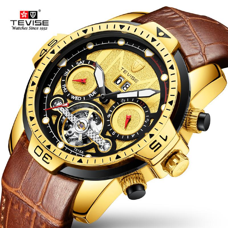 Tevise Mens relógios homens relógio mecânico automático macho couro multifuncional relógio esporte relogio masculino