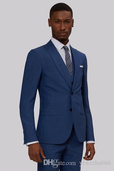 Erkekler Groomsmen Suit Balo Biçimsel Suits için Klasik İki Düğmeler Düğün Smokin Slim Fit takımları (Ceket + Pantolon + Vest + Tie) 870