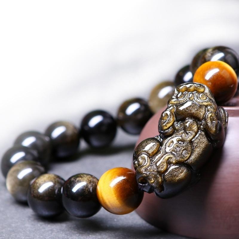 Obsidian Bracciale branelli dell'occhio della tigre di pietra Bracciale in oro Obsidian PIXIU Bracciali Jades il braccialetto dei monili