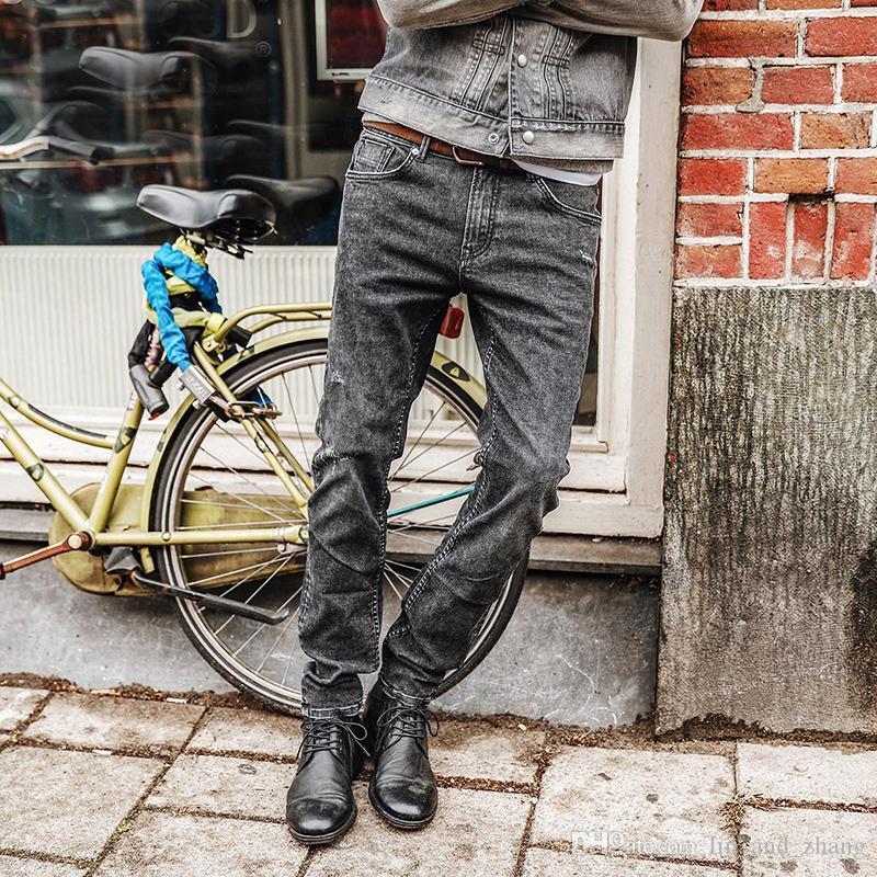 Sıcak Erkekler Jeans Yeni Moda Erkekler Rasgele Jeans İnce Düz Jeans Plus Size Uzun Pantolon Sıcak Satış Yüksek Kalite NC017026