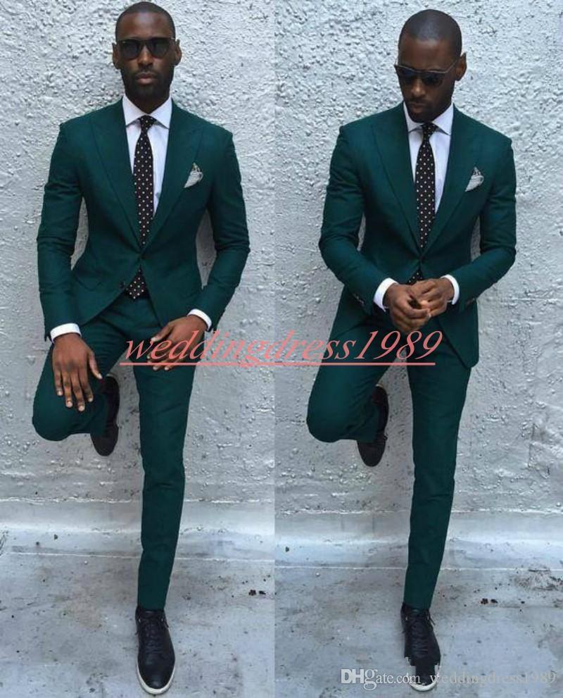Koyu Yeşil 2019 Ince Iş Erkek Damat Smokin Takım Elbise Best Man Damat Resmi Takım Elbise Düğün Smokin Takımları Groomsmen Takım Elbise (Ceket + Pantolon)