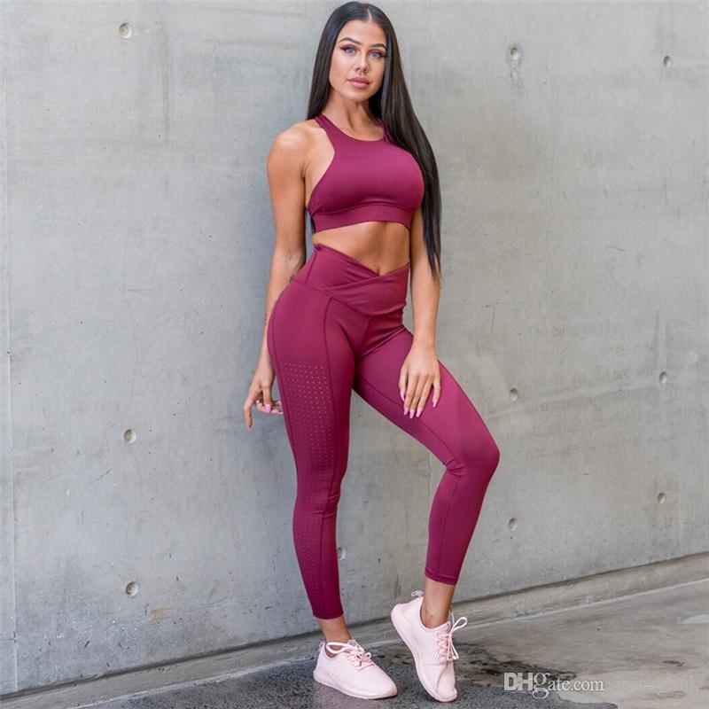 Sportbekleidung Yoga Set 2 Stück Frauen Fitness Kleidung nahtlose Sport Anzug Gym Trainingsanzüge Laufanzüge weibliche Trainingskleidung 2019 # 756988