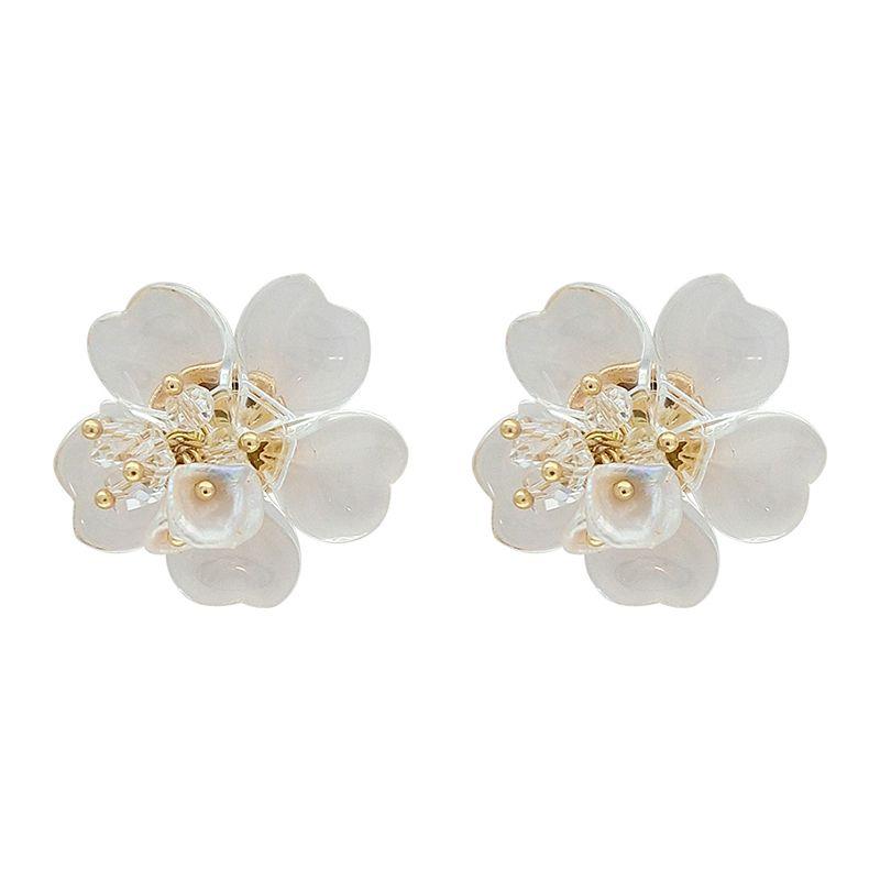Moda Vahşi Akrilik Abartılı Yaprakları Küpe Kişilik Mizaç Yapay Kristal Çiçek Küpe Kadın Y19062703