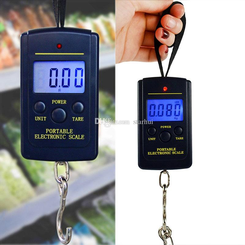 40kg Mini Digital Scales LCD Display Hanging Luggage Fishing Weight Fine Weighing Balance Libra Steelyard Scale Household Scales WX9-1161