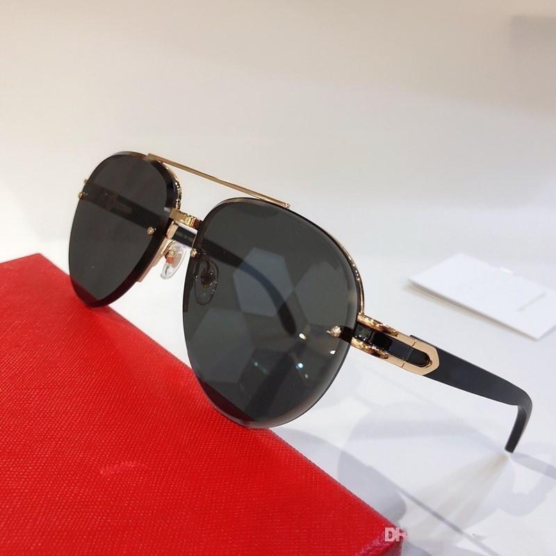 8200986 Солнцезащитные очки для мужчин овал Каркасные Популярные UV400 деревянные ножки Мужчины Cолнцезащитные очки Крупногабаритные Vintage стиле ретро Come With Case
