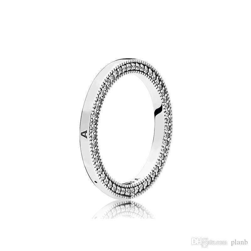 925 Sterling Silver Band Ring Caixa Original para Pandora Corações Assinatura CZ Diamante Anel Conjuntos Para Mulheres Presentes de Natal Mens