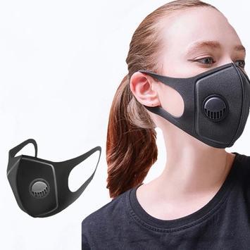 재고 !! 밸브 입체 스폰지 남성과 여성 방진 통기성 EEA1481 호흡으로 PM2.5 보호 마스크 블랙 마스크