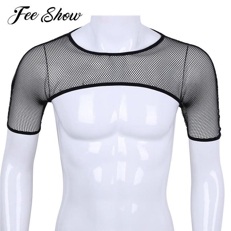 2018 Sexy Mens See Through сетки ажурные нагрудный жгутов Tops Черный Короткие рукава Crop Tops выдалбливают ClubWear Half топике