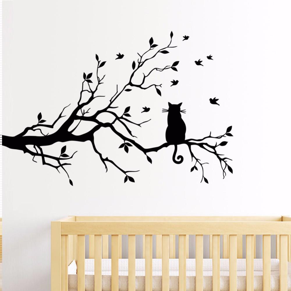 2019New Ankunft Baum Ast Aufkleber Wand Wohnzimmer Schlafzimmer Katze Wandaufkleber Glasfenster Aufkleber Heißer Verkauf Großhandel