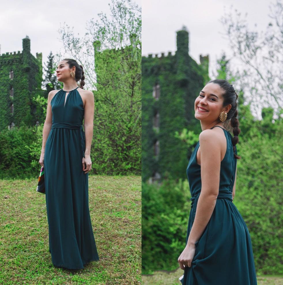 Burgundy Dark Green Chiffon Long Bridesmaid Dresses Halter Ruched Sash Floor Length Beach Wedding Guest Evening Dresses In Stock CPS868