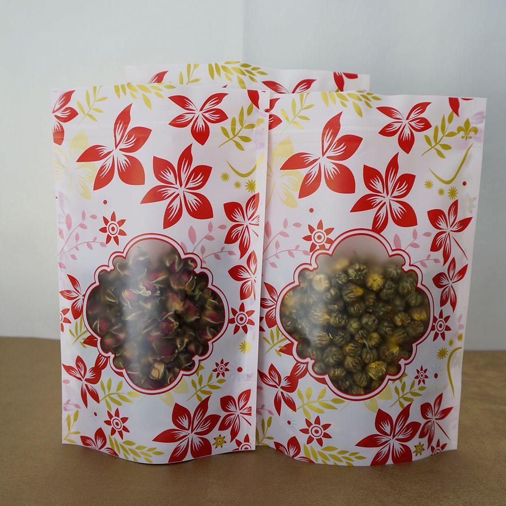 Wholesale 100pcs/15x22cm Matte Transparent Red Flower Printing Ziplock Bag with Window, Pack Plastic Purses Zippers Packing Pouch Reusable