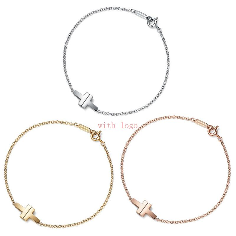 Logo stamp 925 silver TF designer Chain Link Bracelet for lady Women Party Wedding Lover tiffi Luxury Jewelry TT connector bracelets pulsera