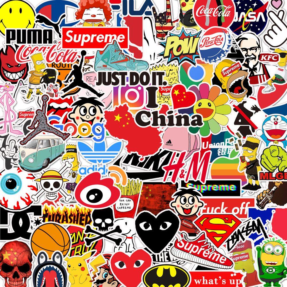 100 قطعة ماركة أزياء الجنس مضحك ملصقات سيئة مختلطة للمحمول حقيبة دراجة ديكو غيتار ملصقات الهاتف باد شارات pvc ملصقات jdm